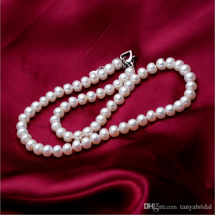 Vintage-Stil Simulierte Perle Schöne Braut Charme Halskette Anhänger Modeschmuck Perlen Halsketten Günstige Zubehör Echtes Foto