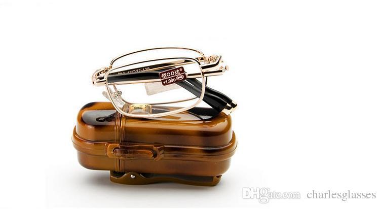 Faltbare Lesebrille des Kleinhandels gehen mit tragbarem mini Presbyopieobjektivgläsern des Kastens Energie +1.0 bis +4.0