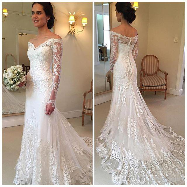 5e43a0e6cb20 2018 Gorgeous Lace Long Sleeve Mermaid Wedding Dresses Dubai African Style  Petite Off Shoulder Button Back Train Bridal Gowns Sexy Lace Wedding Dress  ...