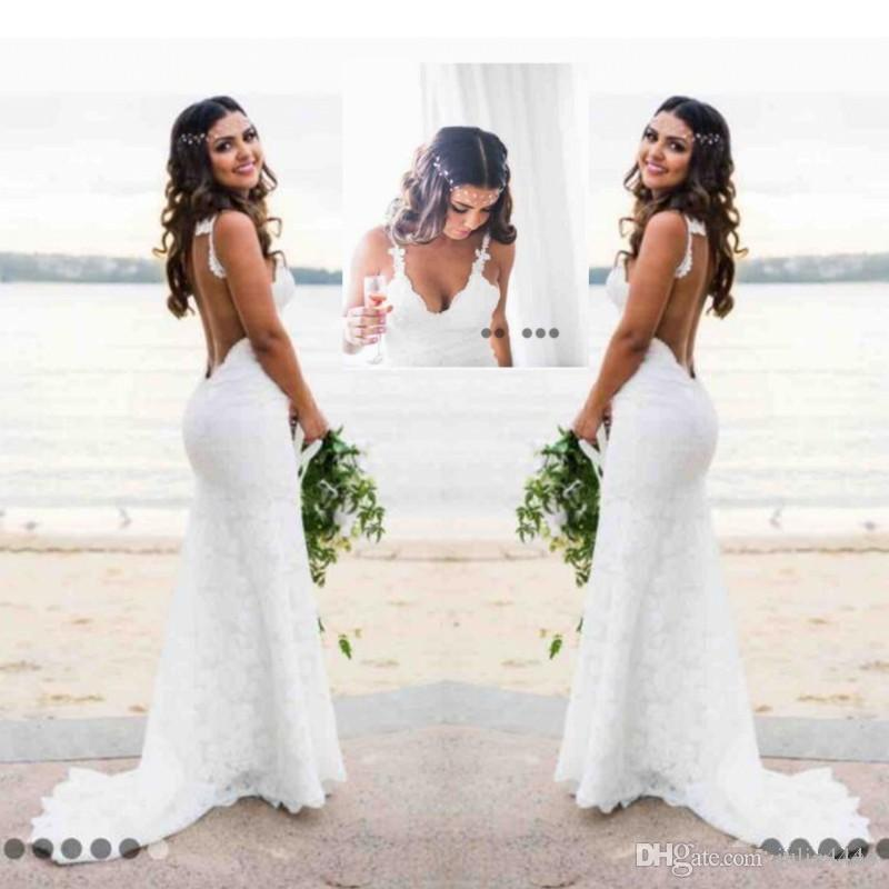 Katie May Mermaid Beach Lace Wedding Dresses 2017 Modest Fashion Spaghetti Backless Country Bohemian Fishtail Bridal Holiday Dress