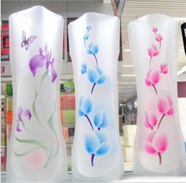 Vasi di plastica del fiore di 12cm * 27cm Unbreakable pieghevole riutilizzabile Creativo pieghevole Magic PVC Vaso colore della miscela della decorazione della casa