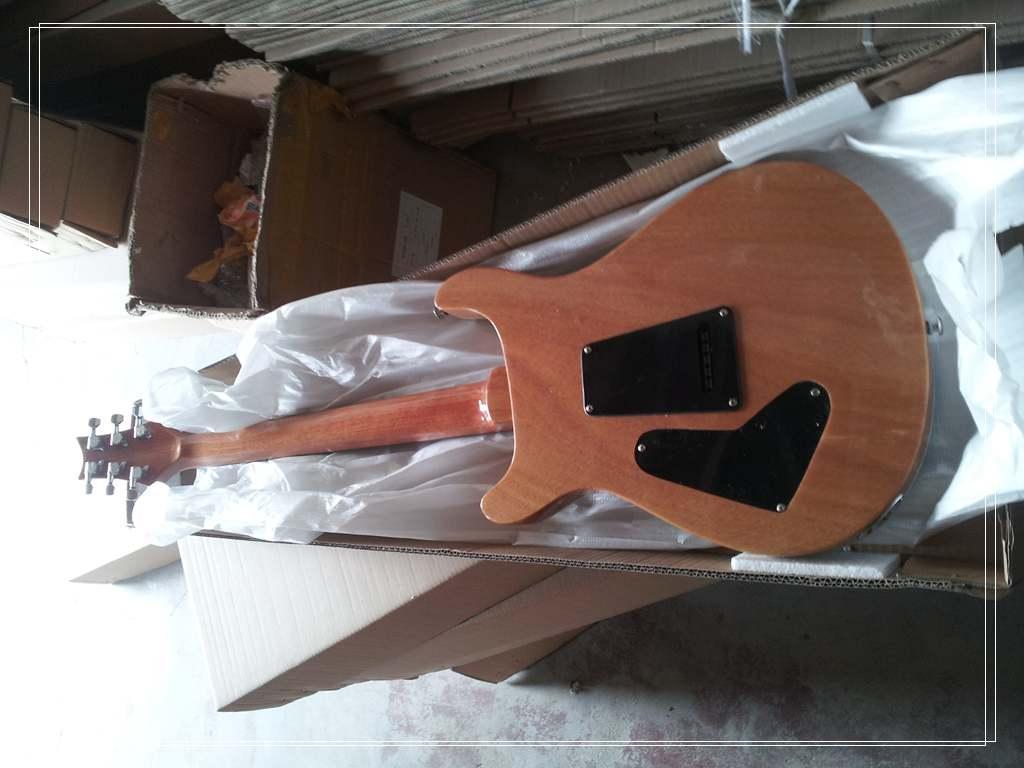 Custom Shop Reed Smith Guitarra 22 Frets Tigre Chama Maple Top Verde Desbotada Guitarra Elétrica Abalone Flor Inlay Mogno Natural De Volta e Sid