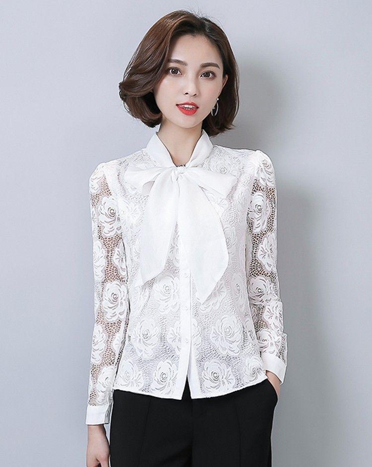 2018 Wholesale Women Blouses Bow Collar Plus Size Ladies Chiffon ...