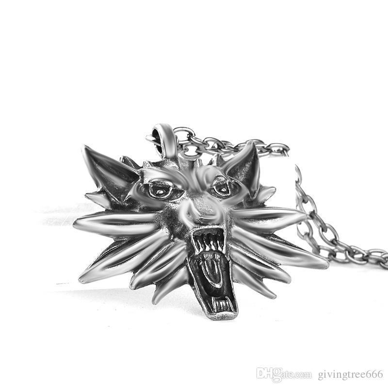 55 cm misto vermelho branco olhos bruxa Witcher pingente de bruxa Witcher 3 medalhão pingente de colar selvagem jogo figura de caça lobo amuleto