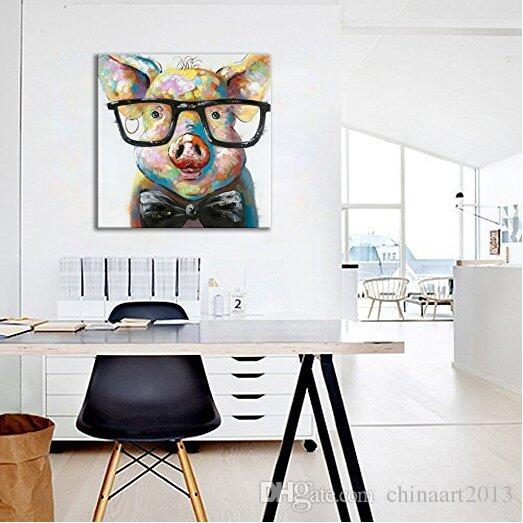 Hand Painted Oil Painting Animal Smart Pig Unframed 24X24inch Wall Art Canvas Art for Home Decoration