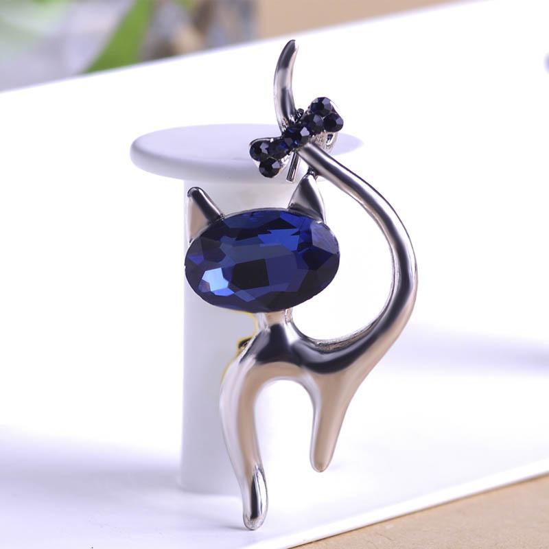 Sevimli Mavi Kedi Broş Düğün Broach Hicap Pin Hipokampal Broches Gun Siyah Kaplama Broş Buket Kadınlar Korsaj Hayvan Yaka