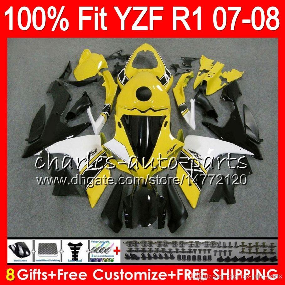 8Gifts Einspritzung für YAMAHA YZF1000 YZFR1 07 08 YZF 1000 37HM13 YZF-R1 07-08 YZF-1000 YZF R 1 Gelbschwarzes YZF R1 2007 2008 Verkleidung