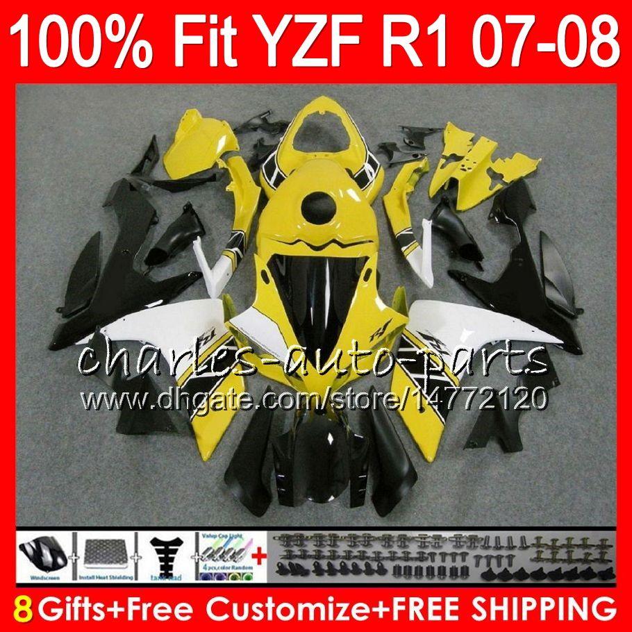 8Regalos 23 Inyección de colores para YAMAHA YZF1000 YZFR1 07 08 YZF 1000 37HM13 YZF-R1 07-08 YZF-1000 YZF R 1 Amarillo negro YZF R1 2007 2008 Carenado