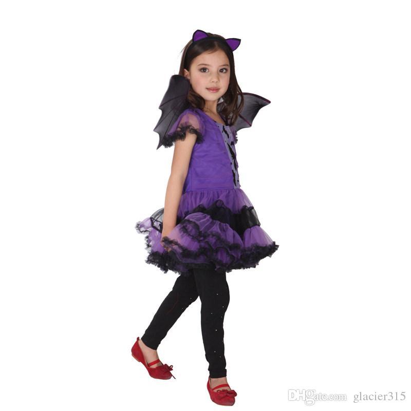História de Xangai Fancy Masquerade partido cosplay vestido roxo Vampire traje Halloween traje da festa à noite com a cabeça da asa