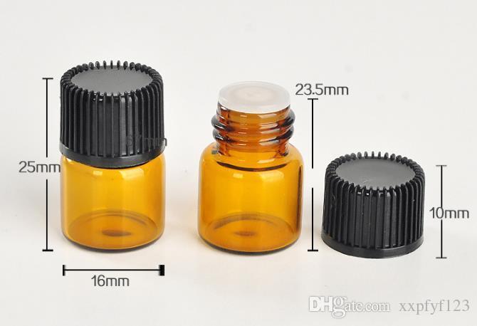 2017 NUEVO 1 ML Perfume Ámbar Mini Botella de Cristal, 1CC Ámbar Muestra Vial, Pequeña Botella de Aceite Esencial precio de fábrica b708