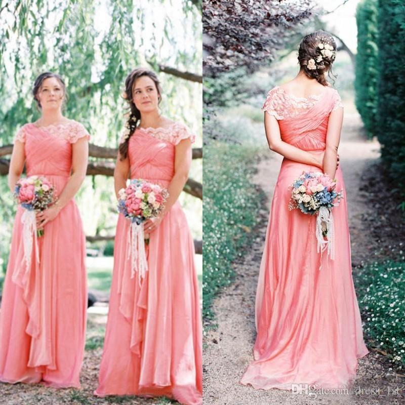 Latest 2017 Bohemian Coral Chiffon Bridesmaid Dresses Long Cheap ...