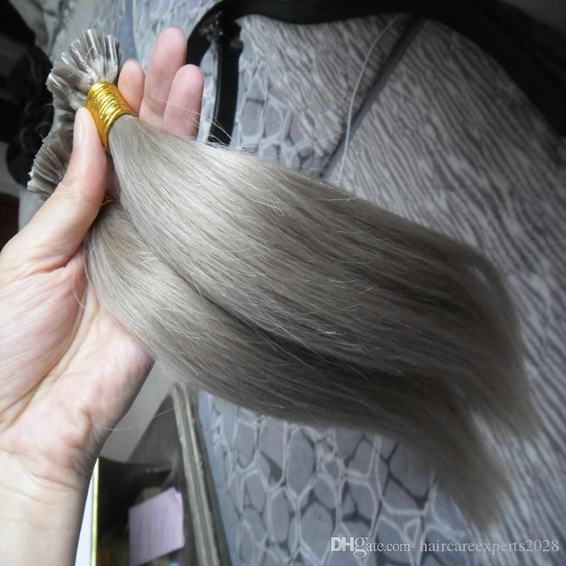 ELIBESS HAAR-Silber Grau Nagel / U Spitze Haarverlängerungen Menschlichen 1g / teile 100 teile / satz Brasilianisches Remy Haar Keratin Gerade Haar Zu Erhöhen Kapsel