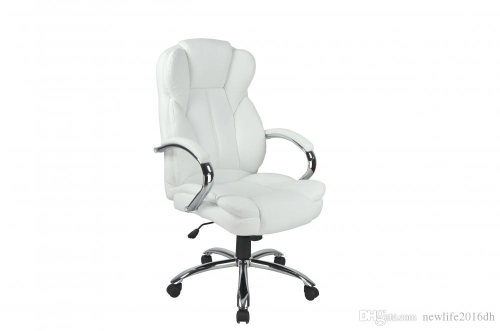 2018 White High Back Pu Leather Executive Office Desk Computer Chair W Metal Base From Newlife2017dh 80 4 Dhgate Com