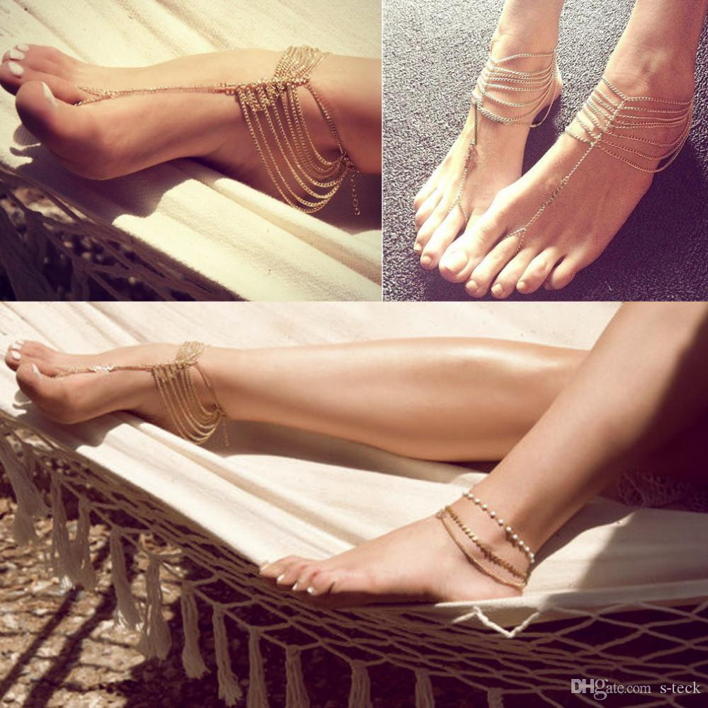 Celebrity Simple Plated Multi Chain Ankle Bracelet Anklet Chain Link Foot Women Barefoot Sandal Beach Ankle Jewelry