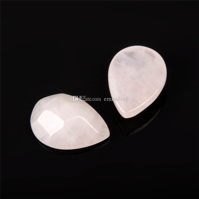 Rose Quartz Cabochon Stone 13mmx18mm Incroyable Qualité Véritable Cristal Naturel Rose Pâle Rose Cut Faceted Tear Drop Fantaisie Semi Précieux Perle