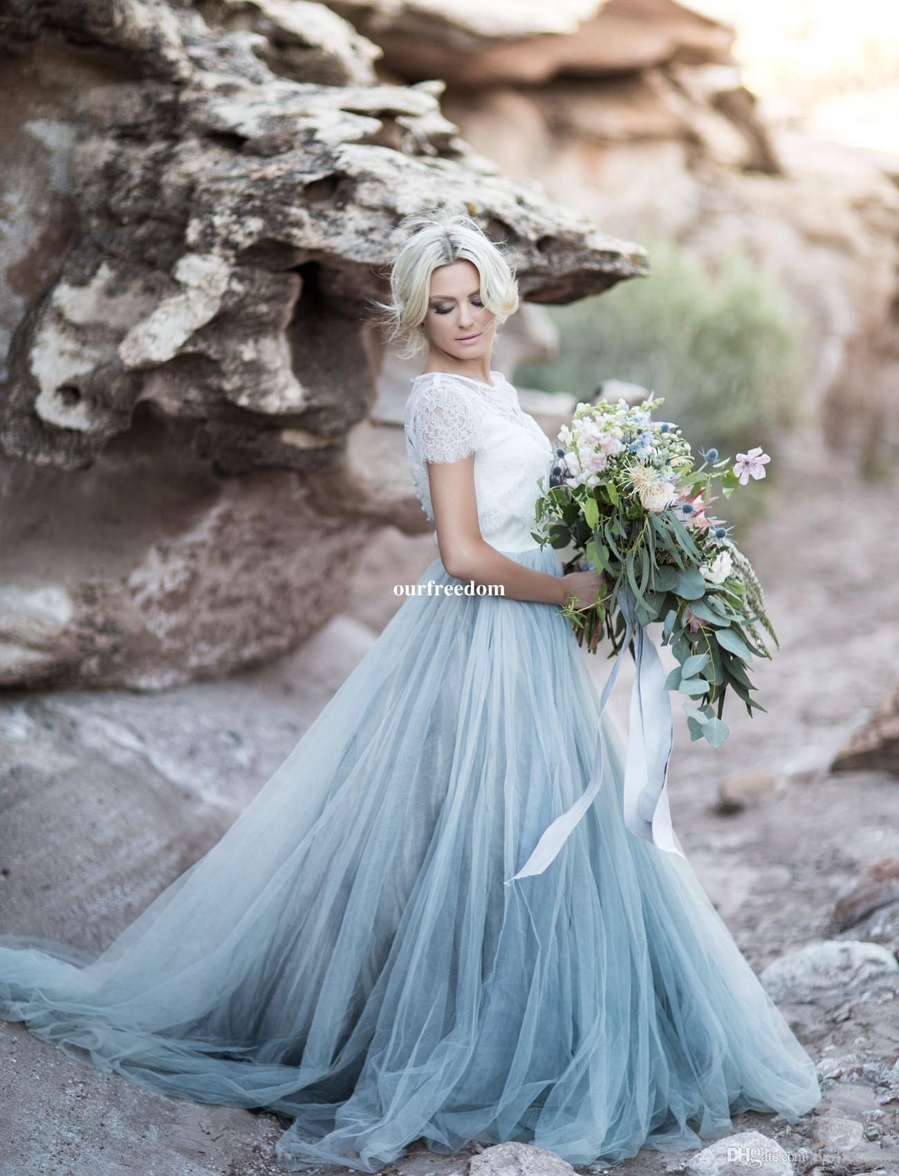 2019 Fairy Beach Boho Lace Wedding Dresses High-Neck A Line Soft Tulle Cap Sleeves Backless Light Blue Skirts Plus Size Bohemian Bridal Gown
