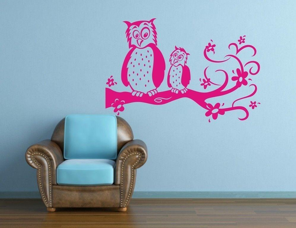 owl and baby owl on tree branch flower vinyl wall sticker removable