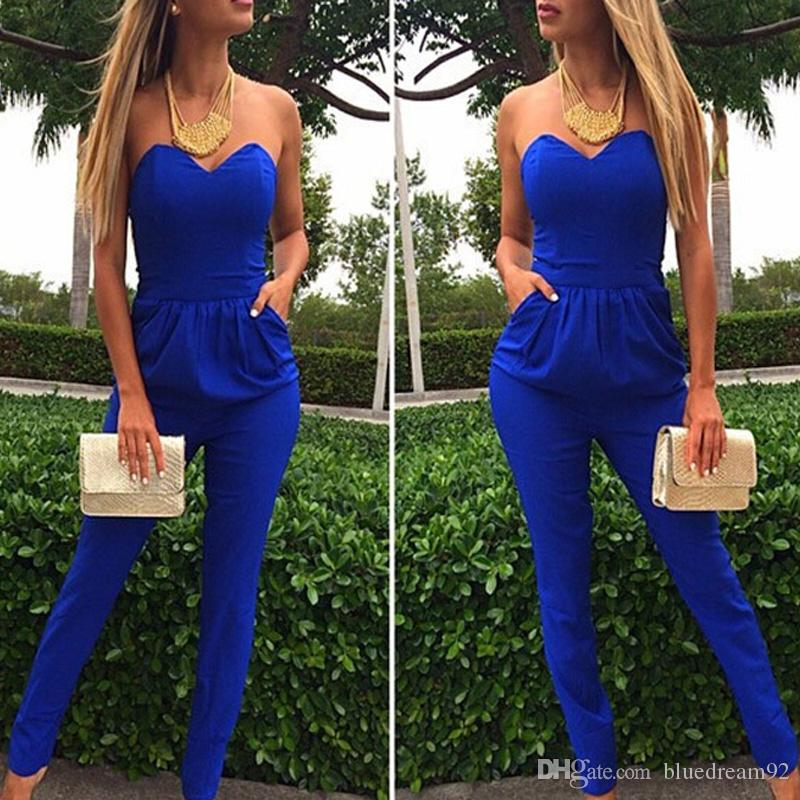 df4f6e8c234 2019 Siamese Plus Size Rompers Jumpsuits For Women Blue Black White  Jumpsuits Lips Shoulders Pocket Sexy Jumpsuit Bodysuit Women Backless  Romper From ...