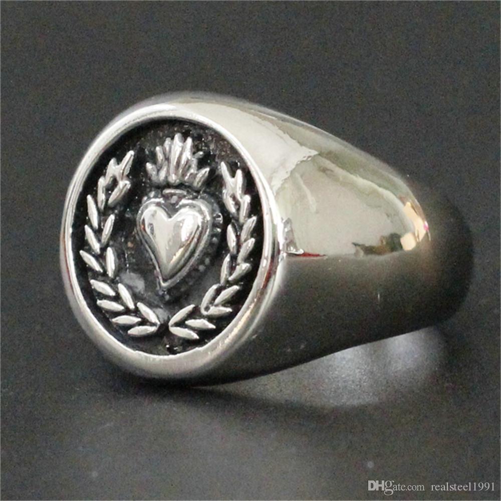 5 шт. / Лот новейший дизайн любовник сердце кольцо из нержавеющей стали 316L ювелирные изделия популярные горячие продажи байкер кольцо