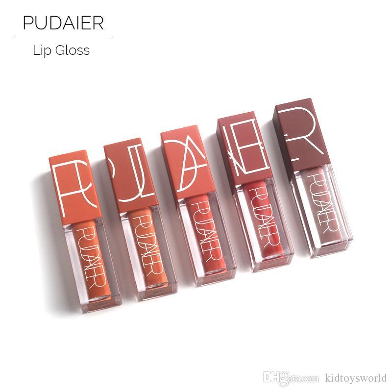 5 couleurs / set Pudaier Sexy Lipgloss Citrouille Couleur Series Liquide rouge à lèvres liquide mat set nude brun chocolat rose ki Imperméable De longue durée