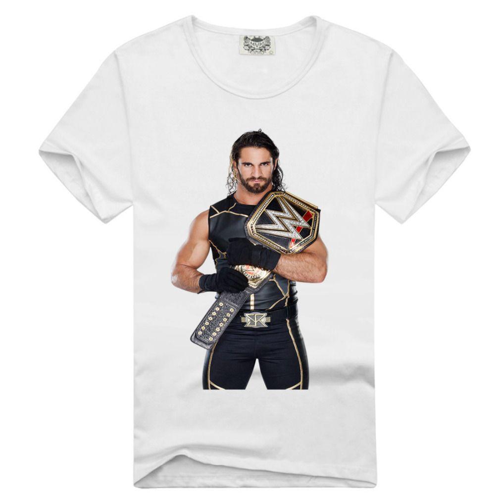 Men Bone Free Custom Men White T Shirt 95 Cotton Wrestler Seth
