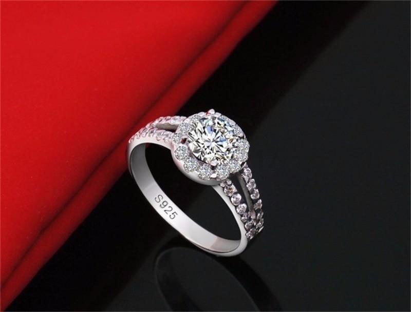 L'anello dei gioielli di modo di YHAMNI ha S925 ha timbrato l'anello reale dell'argento sterlina 925 ha messo 2 anelli di nozze del diamante della CZ di Carat le donne 510