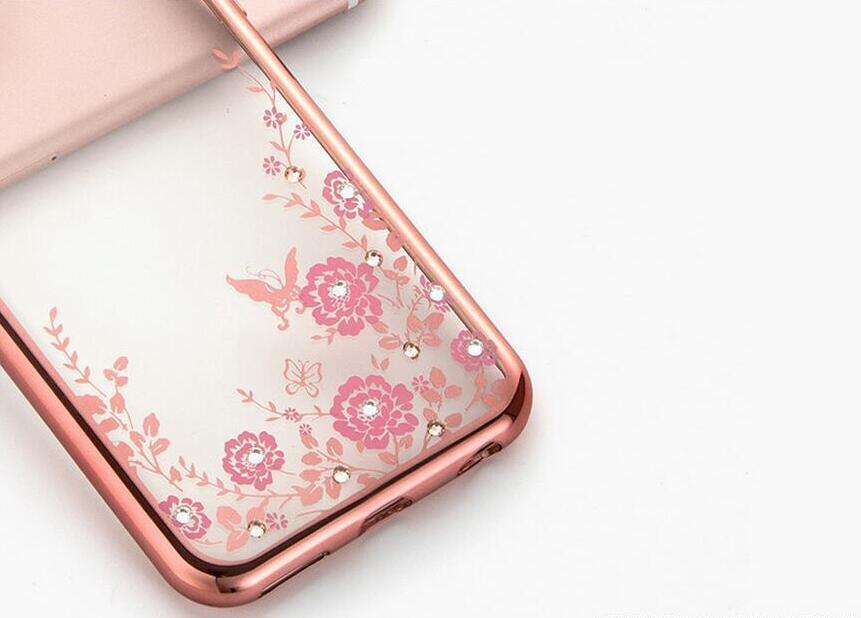 Diamond Bling Soft TPU Clear Phone Back Cover Secret Garden Flowers Case For Iphone 5 6s 6 plus 7 7plus Samsung s6 s7