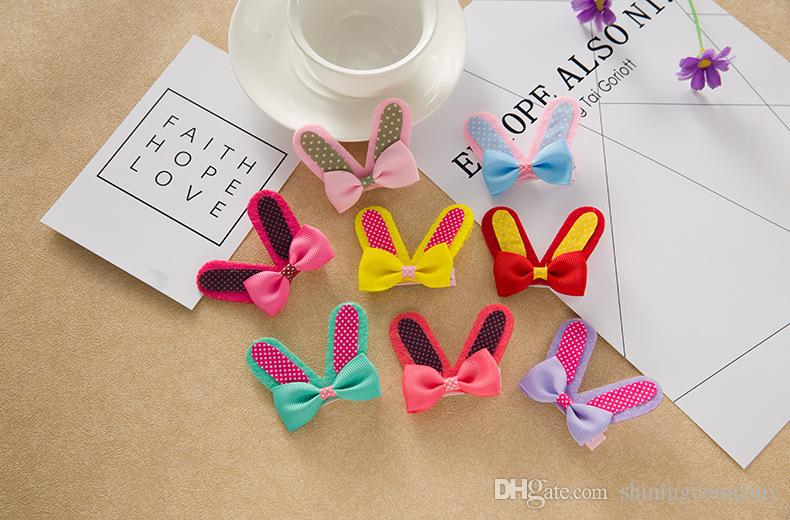 Girls Rabbit Ear Hair Clips Korean Style Dot Bow Knot Ear Hair Barrettes Candy Colors Hair Pins Best Gift for Girls