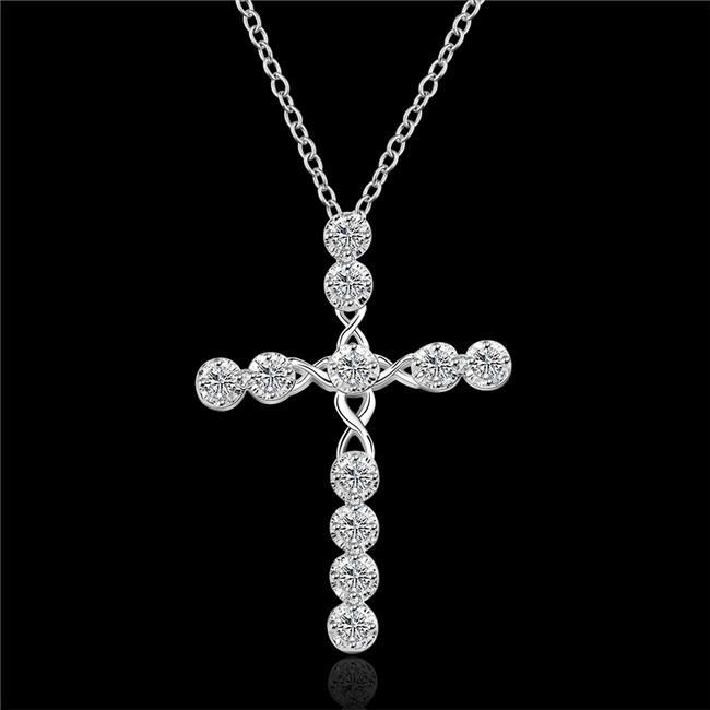 heißen Verkauf Kreuz Segelsterlingsilber überzogen Schmuck Halskette für Frauen WN668, schöne 925 silberne hängende Halskette mit Ketten