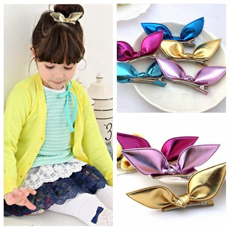 fed57cb047fcb Children Hair Sweet PU Bunny Ear Girls  Hairpin Hair Clips Grips ...