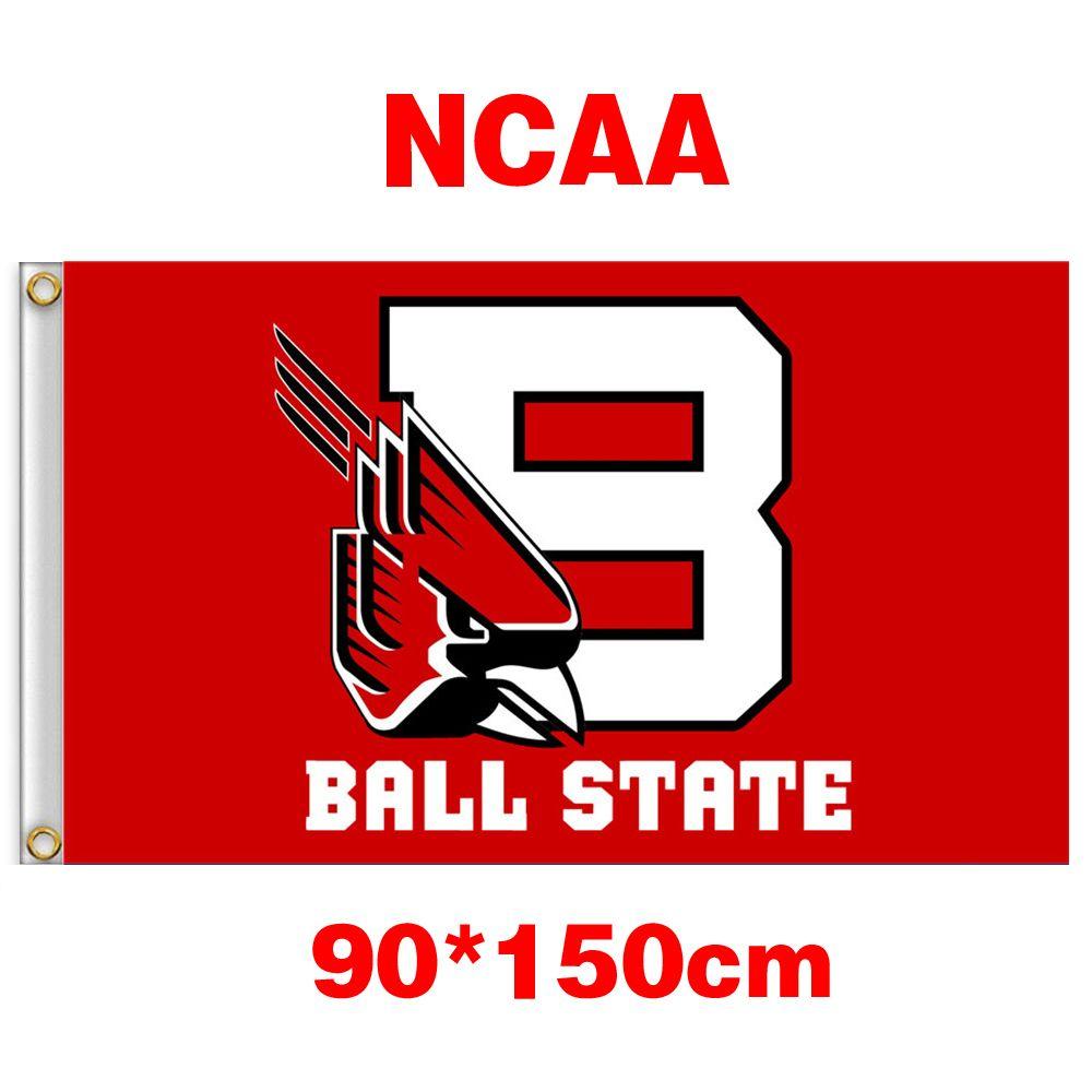 NCAA-Ball-Staatskardinäle Polyester-Flagge 3ft * 5ft 150cm * 90cm Flaggen-Fahnendekoration, die nach Hause Gartengeschenke im Freien fliegen