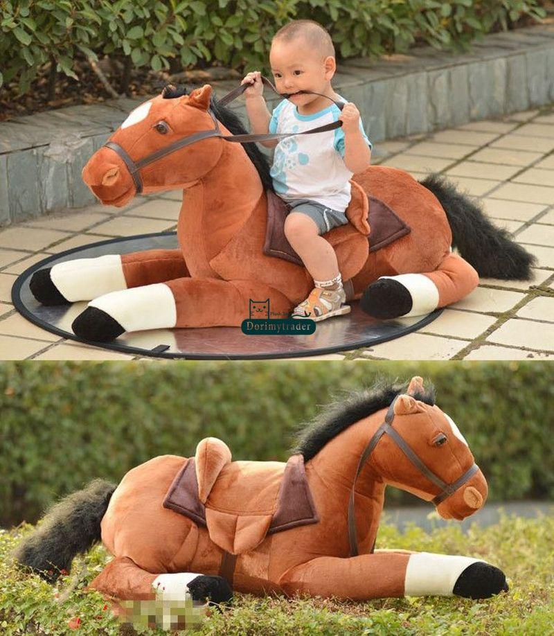 Dorimytrader 130 cm Nette Große Simulierte Tier Pferd Spielzeug 51 '' Große Weiche Gefüllte Liegende Pferde Spielzeug Kinder Spielen Puppe Baby Präsentieren DY61523