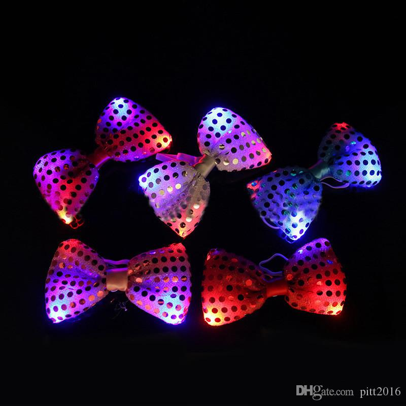 Led Luminous Neck Tie Mixcolor Flashing Male/Female Fashion Bow Tie ,Party wedding Dancing Stage Glowing Tie