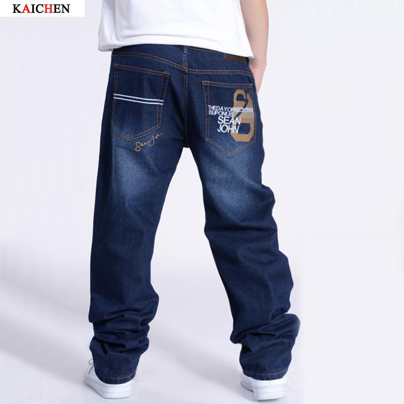 Acquista Uomini Di Grandi Dimensioni Hip Hop Jeans Uomo Jeans Larghi Denim  Hip Hop Pantaloni Mens Streetwear Casual Jeans Larghi Pantaloni Rap Grande  Taglia ... 73a3d72cebed