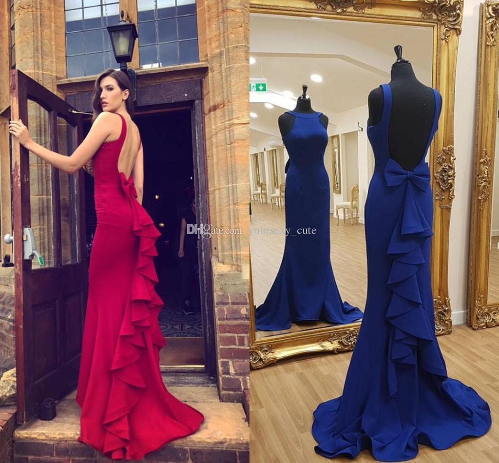 18d460ef12 2018 Newest Royal Blue Mermaid Prom Dresses Crew Neck Bow Back Ruffles  Satin Backless Red Formal