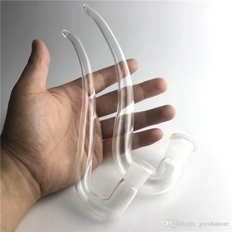 Pipe en verre Tube Pipes J Crochet Adaptateur Bong D'eau Cendrier Attrape bricolage Accessoires 14mm 18mm Femelle Clair Pyrex Épais Tube En Verre