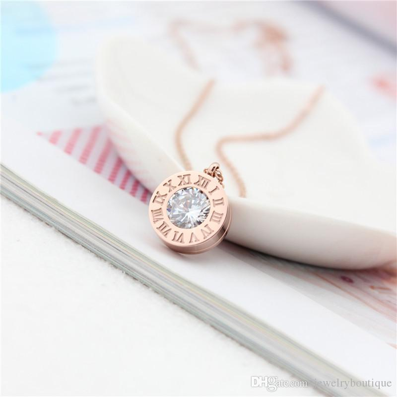 Brand name 316L Titanium steel Women Elegant Necklace Design Pendant with Diamond roman number brand jewelery for women and girls PS5036