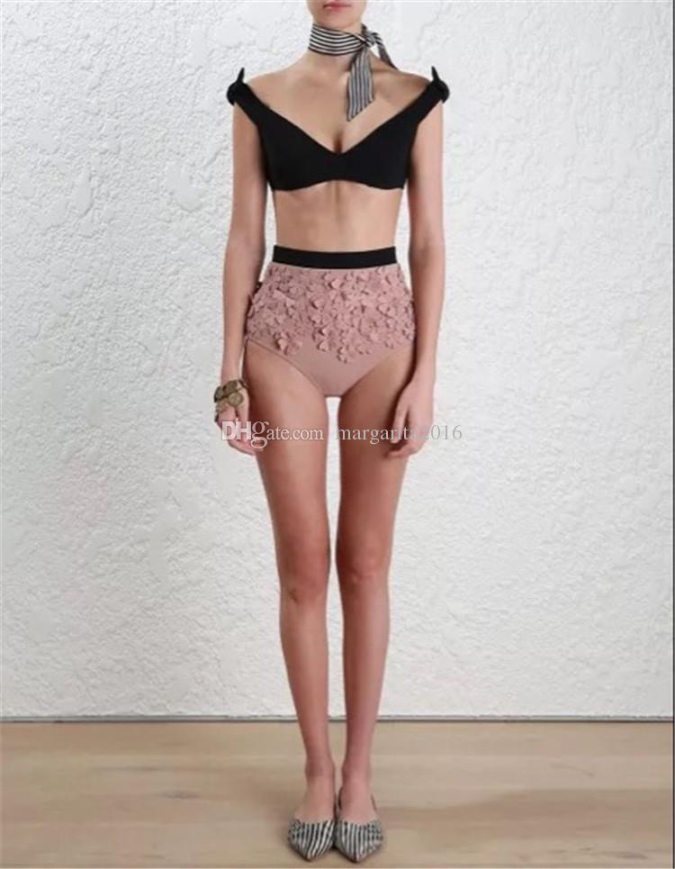 Mujeres de la marca Sexy Bikini de color caramelo Traje de baño Ropa de playa de verano Push Up Bikini Set con flor rosa Playa Bras Traje de baño Trajes de baño PS3033