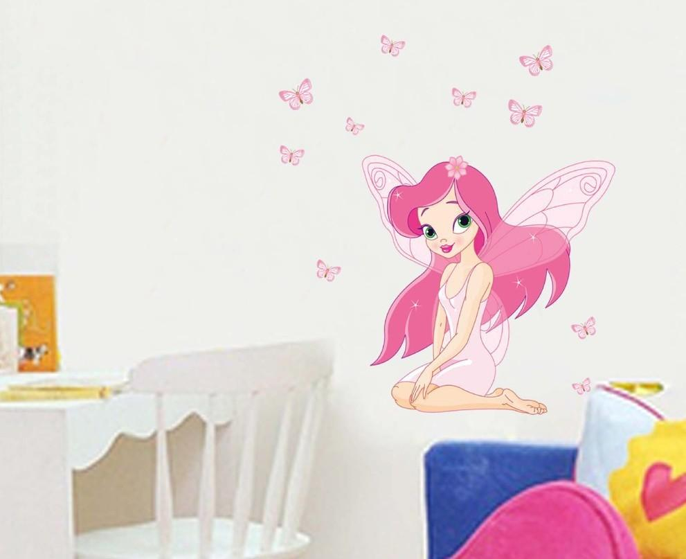 JM8257 Princess Fairy Wall Stickers Beautiful Girl Butterfly Vinyl Decal for Kids Nursery Living Room Removablr Home decoration