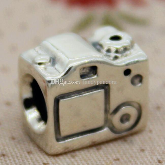 100% Стерлингового Серебра 925 Нить Ядро Камеры Шарма Шарик Подходит Европейский Pandora Ювелирные Изделия Браслеты Ожерелья Кулон