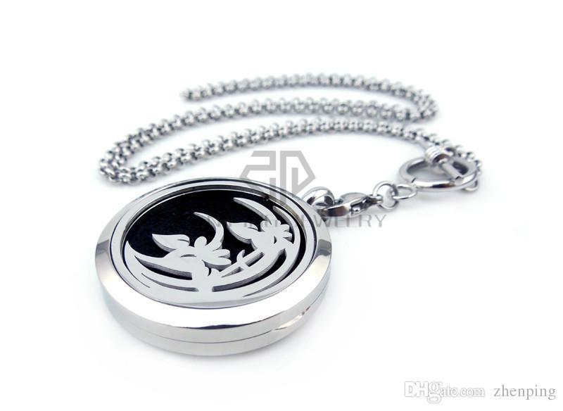 Recién llegado de plata lirio 30 mm aromaterapia / aceites esenciales difusor medallón collar con cadenas de acero Stianless Auto aroma medallón