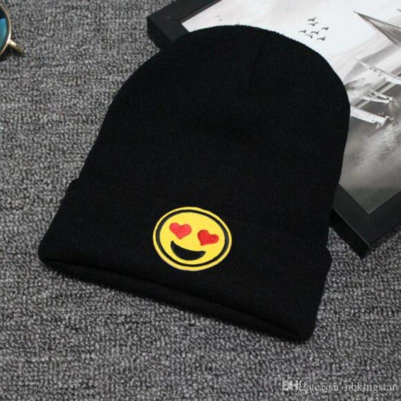 Unisex Fashion Emoji Printing Knitted Beanies Hat Stylish Hip Hop Skullies Cap Hunting Caps Camping Hats For Men And Women