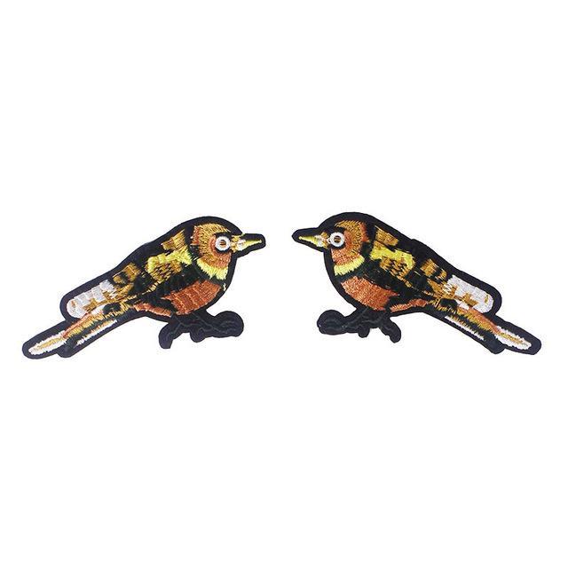 Compre 1 Par Espejo Par Pájaros Diseño Bordado Pegatina Hierro En ...