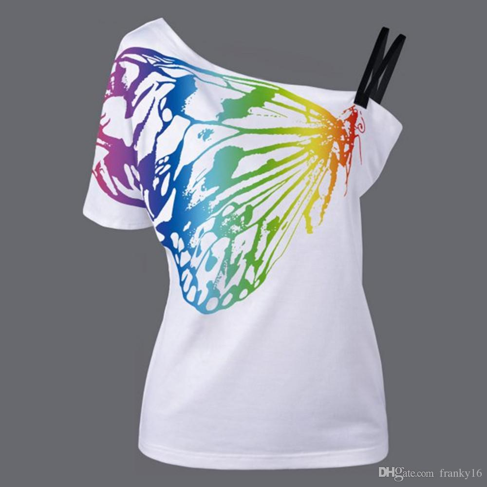 100% Cotton Butterfly Printing T-shirt Women Fashion New Style Strapless Slim T Shirt Lady Sexy Short Sleeve Tees Tops