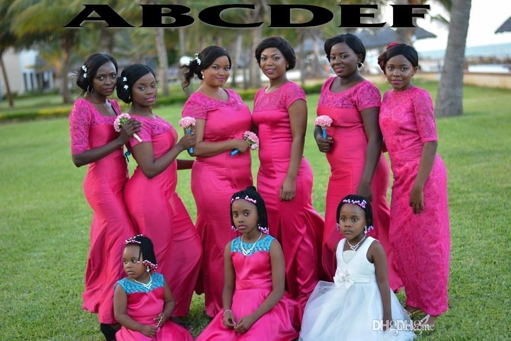 Compre Hot Pink Nigeriano Estilo Sirena Vestidos De Dama De Honor ...