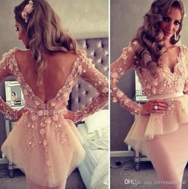 Hot Sale Myriam Fares Arabic Cocktail Dresses Sexy Sheer V-neck Long Sleeve Appliques Lace Sheath Knee Length Party Gowns Cheap
