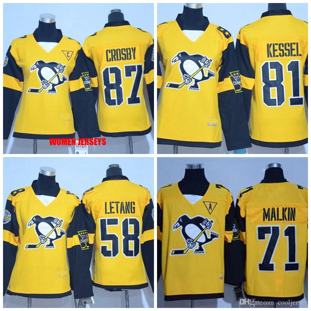 outlet store a54c1 6efe8 Women s 2017 Stadium Series Jersey Pittsburgh Penguins 87 Sidney Crosby 71  Evgeni Malkin 81 Phil Kessel 58 Kris Letang Premier Gold Jersey
