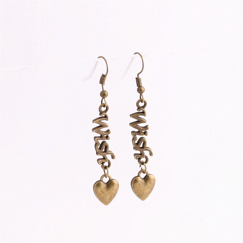 Metal Alloy Zinc Love Pendant Letter Wish Connector Heart Charm Drop Earing Diy Jewelry Making C0672