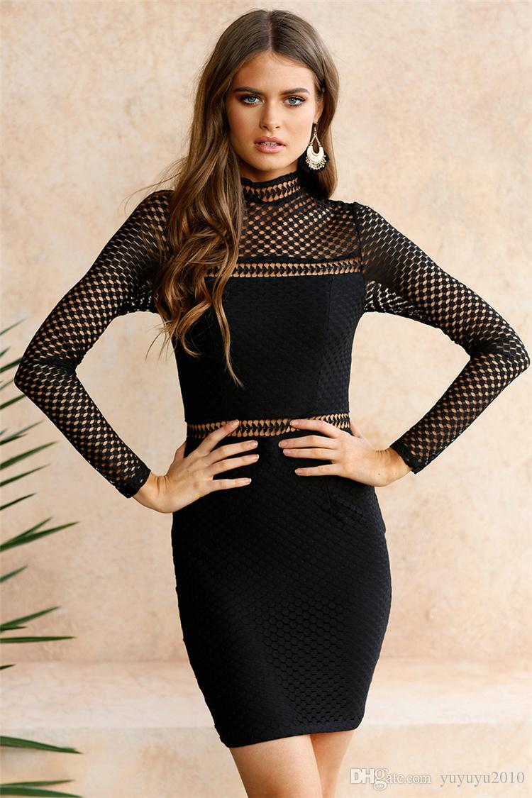 Womens Sexy Party Night Club Dresses Summer Ladies Black Round Neck long sleeve Mesh Insert Bodycon Short Dress MTL170811