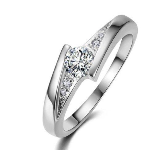 New Elegant Engagement Ring White Gold Fill Diamond Crystal Ring